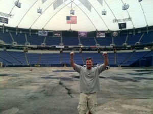 Guy Nelson at the Dome during the turf replacement project