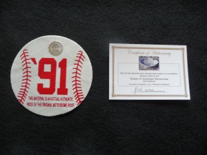 Authentic Teflon Metrodome Roof Commemerative 1991 Printed Baseball Shape