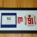 1991 Baseball Piece Custom Matted in Display Case