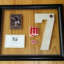 Framed #7 Piece with Joe Mauer Card in Transparent Float Case