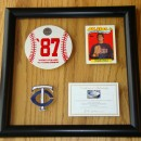 Framed Frank Viola Card with Baseball Shaped Piece