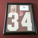 Framed #34 Piece with Kirby Puckett Card in Transparent Float Case