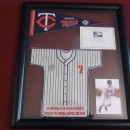 #7 Joe Mauer Mini Jersey Display made from Metrodome Roof