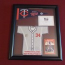 #34 Kirby Puckett Mini Jersey Display Made From Metrodome Roof