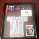 #14 Kent Hrbek Mini Jersey Display made from Metrodome Roof