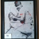 Limited Edition of 191 qty of artist signed and Jack Morris signed portrait of Jack Morris on actual authentic World Series Game Used Metrodome Roof!