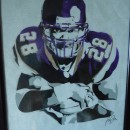 Adrian Peterson Framed Portrait signed by artist.  Hand Airbrushed on Authentic Metrodome Roof Material