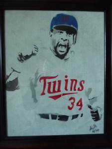 Kirby Puckett Framed Portrait signed by artist. Hand Airbrushed on Authentic Metrodome Roof Material